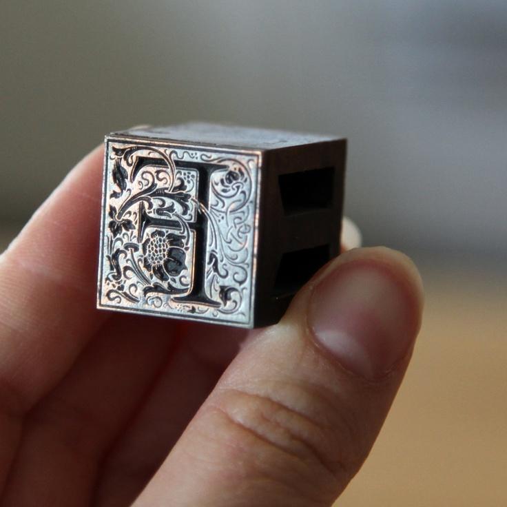 Capital F Metal Letterpress 36pt. Ornate Type. $8.00, via Etsy.