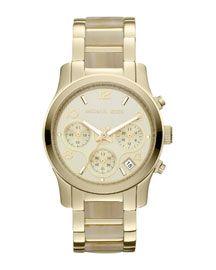 Y18FQ Michael Kors Mid-Size Horn Acetate en Golden RVS Runway chronograaf horloge