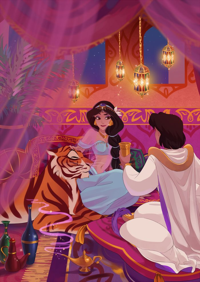 Jasmine, Aladdin and Raja enjoy a quiet evening in the palace.