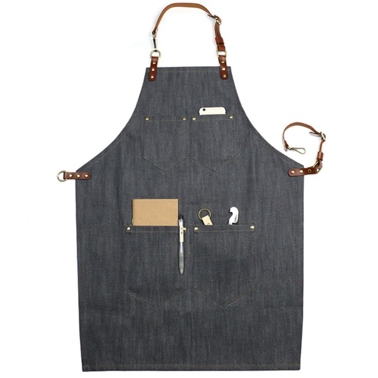 Unisex Black/Blue/Gray/Brown Denim Bib Apron with Adjustable Genuine Leather Straps and Convenient Pockets. Suitable for Uniforms of Barber,Barista,Bartender,Chef,Stylist,Waiter/Waitress,Hairdresser,Florist,Painter,Gardener, Baker,Carpenter,Woodworker or Work wear of Salon,Bakery,Cafe,Hotel,Restaurant,Bistro,Tattoo shop,Craft workshop etc.