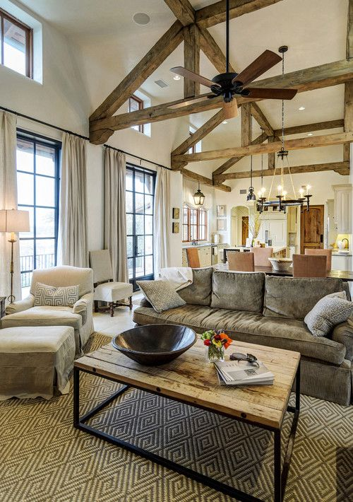 The contrast of the exposed beams with the off white for Exposed beam ceiling living room
