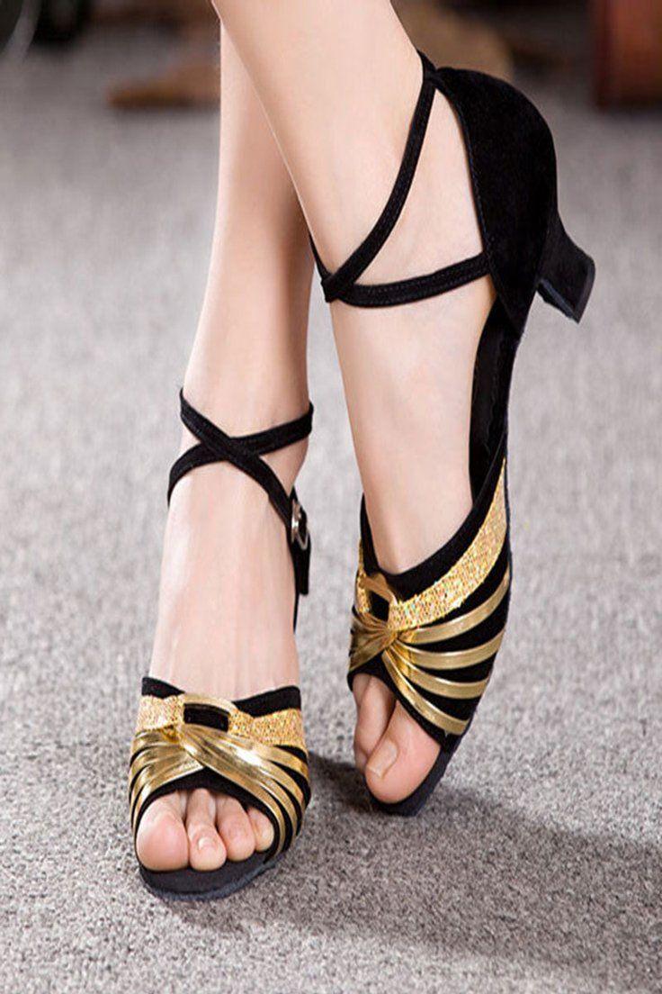 Women Girls Sandals Ballroom Peep Toes Latin Tango Shoes Heeled Dance Shoes