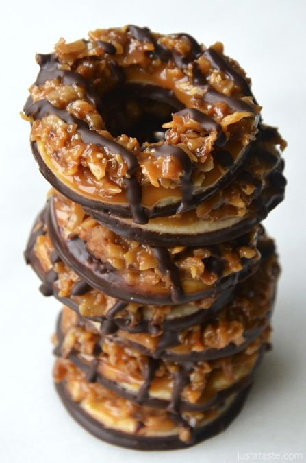 Homemade Samoas (aka carmel delights in the midwest) Girl Scout Cookies.  I must find a way to make them gluten free (Bob's Red Mill GF shortbread cookie mix) and dairy free with the homemade salt Carmel, link in recipe, & semi sweet chocolate.