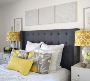 Future master bedroom. Love grey, white, and yellow! And the headboard too.