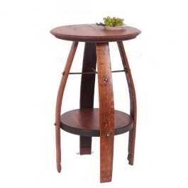 """Wine2Night Presents this Bistro Wine Table made from recycled Oak Wine barrels. Oak table top set upon oak wine barrel legs and featuring a built in shelf this bistro table is perfect for small spaces and casual dining.      Bistro Barrel Table measures: 35""""H X 23""""W X 23""""D"""