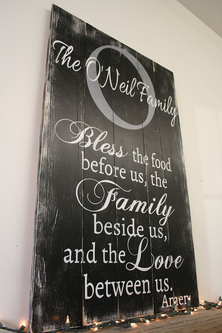 Bless The Food Wood Pallet Sign Kitchen Dining Room Wall Art Personalized Name