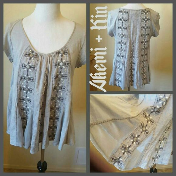 AKEMI + KIN GRAY TUNIC Unique, 100% cotton.  Beautiful embroidery in gray, white and silver.  Smock has sheer inserted triangular panels around base. Anthropologie Tops Tunics