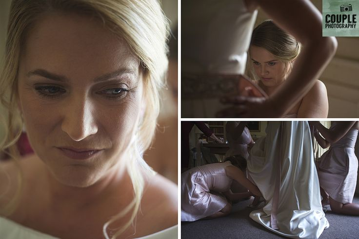 Friends helping the bride get ready before the ceremony. Weddings at Cliff At Lyons by Couple Photography.