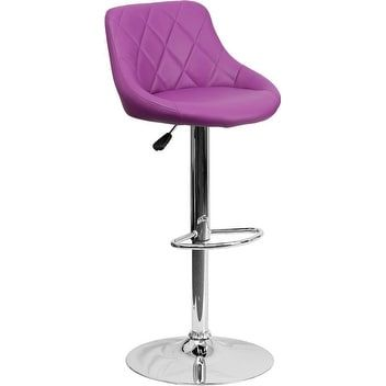 iHome Estella Low-Back Purple Vinyl Bucket Seat Adj. Bar/Counter Height Stool w/Chrome Base for Home/Dining/Kitchen