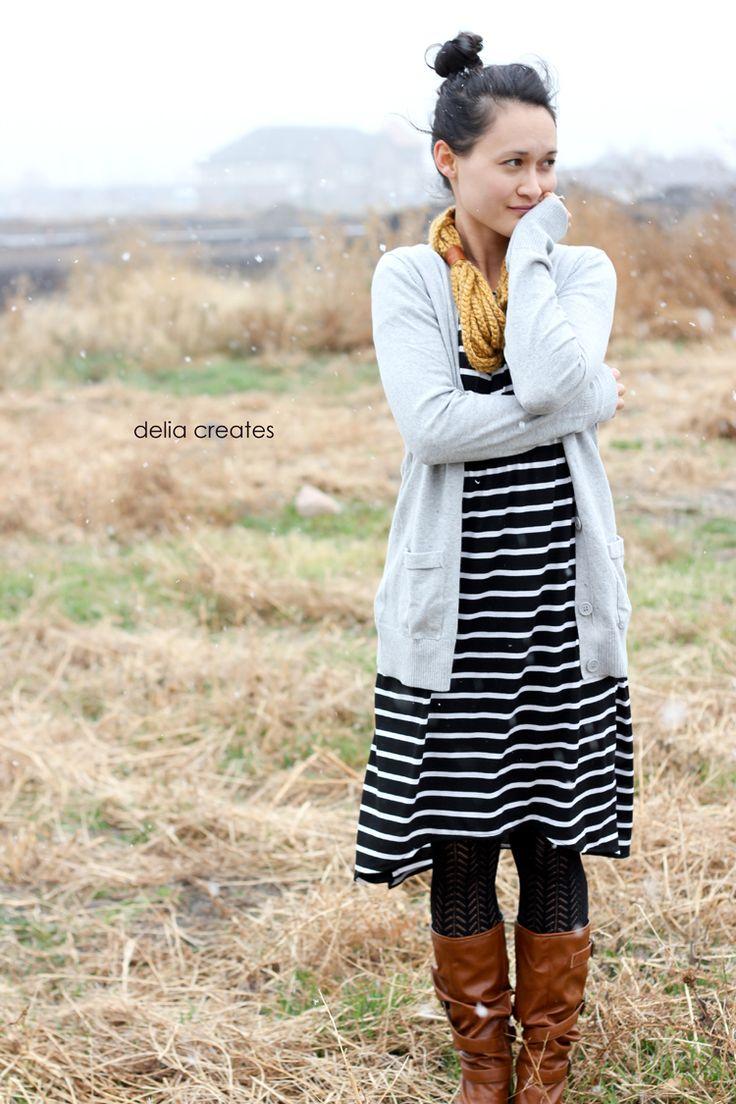 fall staple dress in striped knit // delia creates