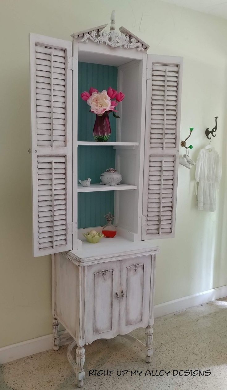 Shabby Chic Display Cabinet French Decor Cabinet Shabby Chic