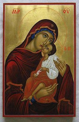 Theotokos Eleusa painted by Marchela Dimitrova