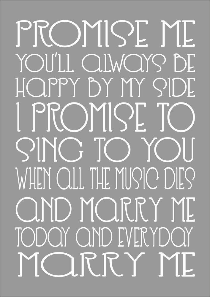 MARRY ME - TRAIN - Word Typography Words Song Lyric Lyrics Music Wall Art