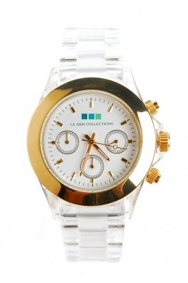 la mer - women's carpe diem clear banded watch (gold bezel)
