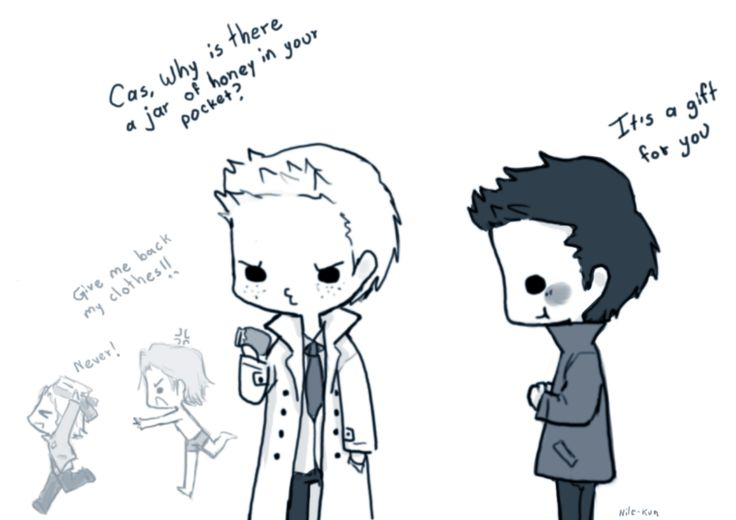 Day 6: Wearing each others' clothes (Destiel) by ~Nile-kun on deviantART