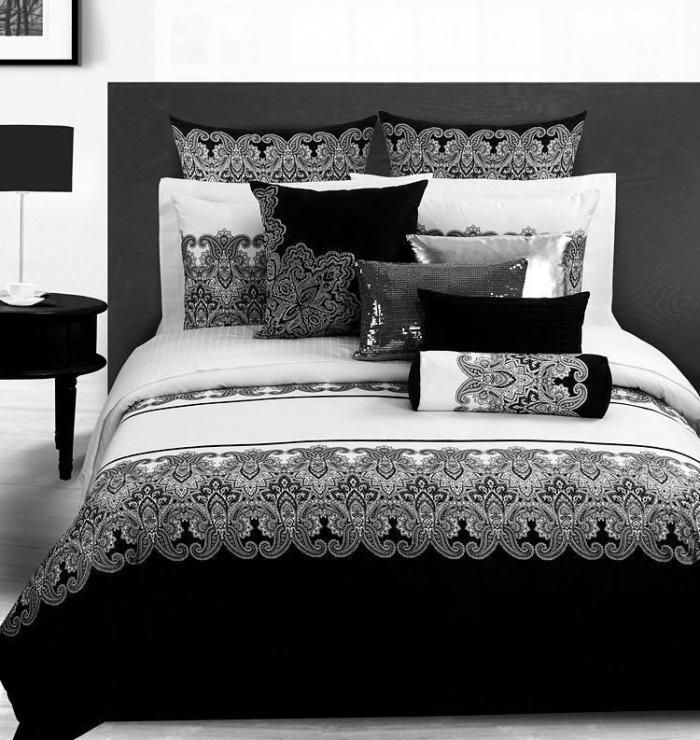 3d vintage noir et blanc paisley literie couette set d finit queen couverture couvre lit de. Black Bedroom Furniture Sets. Home Design Ideas