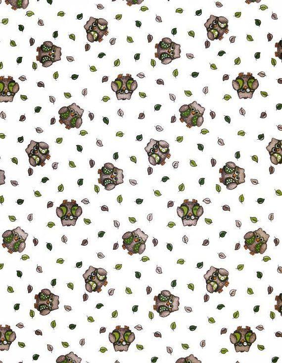 Fabric - ARVIDSSONS – Helge – Green owl print - Heavy fabric – Canvas fabric - Cotton canvas fabric - Half meter / Half yard