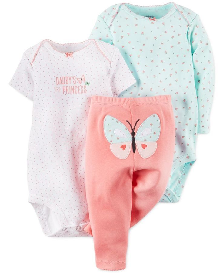 Carter's Baby Girls' 3-Piece Daddy's Princess Bodysuits ...