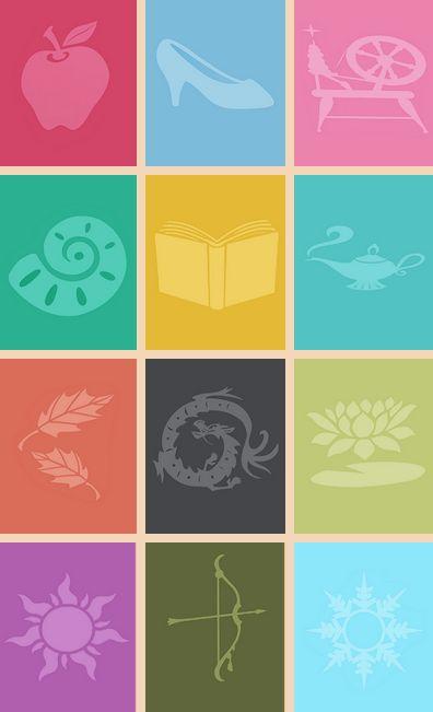 Simbols:snow white,cinderella,arora,areal,bell,jasmine,pocohantis,mulan,tiana,rupunsill,merida,elsa and anna