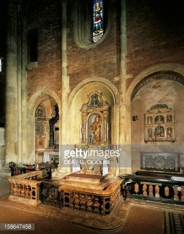 Stock Photo : Late 15th century altarpiece and view of right wing of San Michele Maggiore Basilica, Pavia. Italy, 11th-15th centuries.
