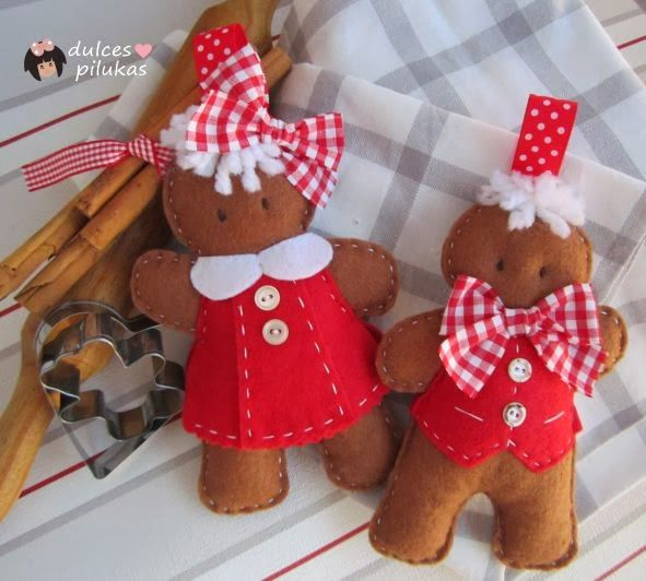 Felt Gingerbread couple, Lollipops (cute) little girls in felt (on the site page, as well)...check it out...adorable!