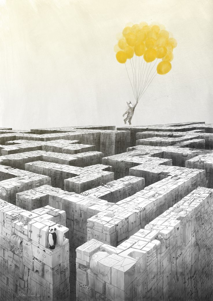 Labyrinth, illustration, by Filipa Viana