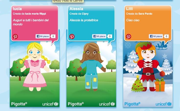 Scarica la app gratuita per Iphone e Ipad di Unicef Italia e personalizza con i tuoi bambini tante pigotte virtuali da condividere on line sul sito UNICEF. Il gioco è un diritto di ogni bambino. http://regali.unicef.it/index.php/la-pigotta.html