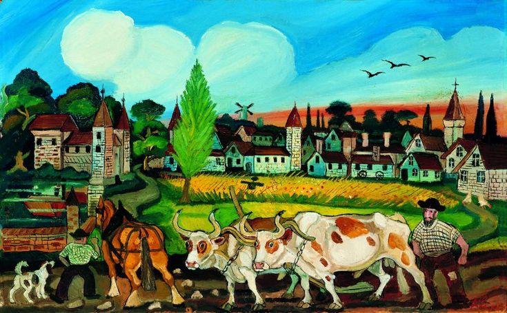 Antonio Ligabue - Ritorno dai campi - Olio su faesite, 58 x 94 cm