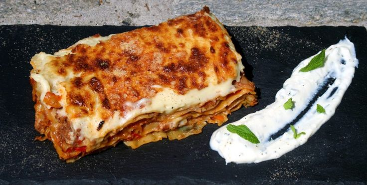 Lasagna with vegetables and minced meat, cinamon and cloves with cold feta cheese sauce flavored with mint Paparouna Wine Restaurant & Cocktail Bar | Our dishes for today !!!