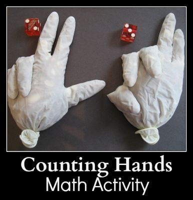 Counting Hands -  Math Activity at JDaniel4's Mom. Bean-filled gloves make addition practice WAY more fun!