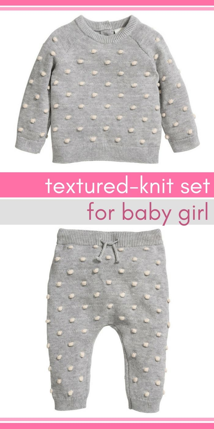 f5beef66b How cute is this light gray textured-knit sweater set  Baby girl ...