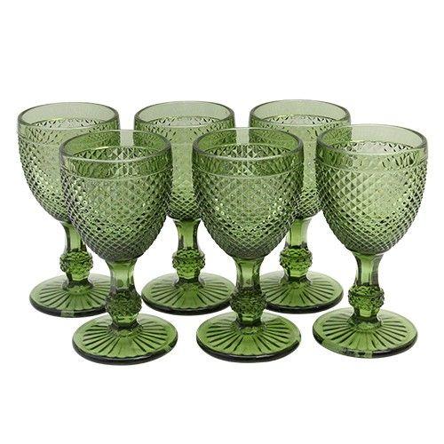 Set cu sase pahare de vin Green Charm 15 cm
