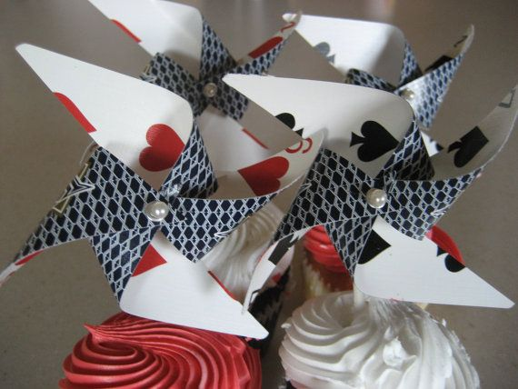 poker pinwheels - we could make some to add to the Magic of Cub Scouting centerpieces