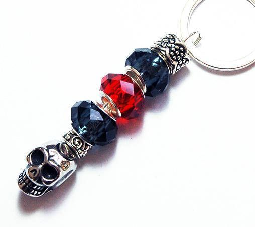 Skull keyring Skull Beaded Keychain Stocking Stuffer