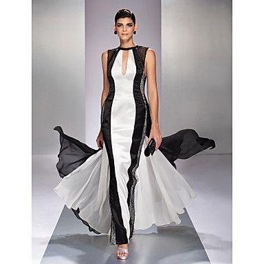A-line Jewel Floor-length Georgette Evening Dress (759920) - USD $ 98.99