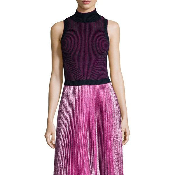 ZAC Zac Posen Women's Liv Turtle Crop Top - Dark Blue/Navy, Size L ($70) ❤ liked on Polyvore featuring tops, graphic print top, purple crop top, purple top, graphic tops and crop top