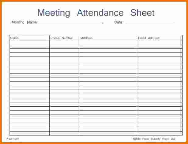 Attendance Sheet Template - The meeting should start out with a