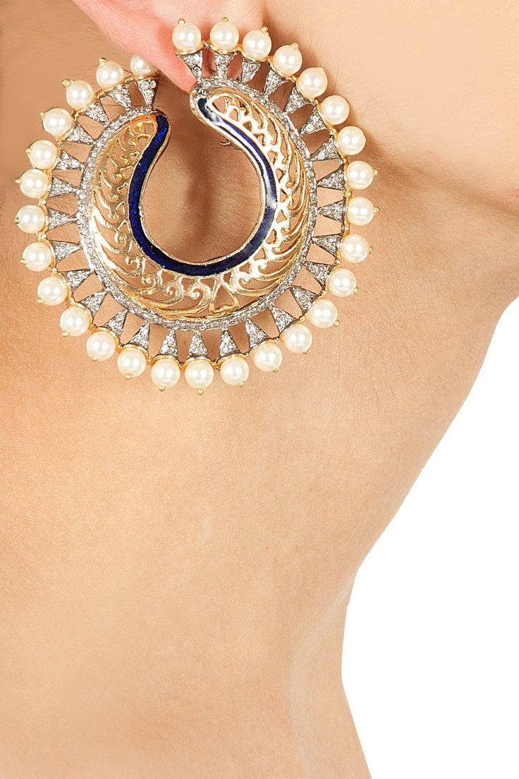 Chand bali pearl earrings BY ROHITA AND DEEPA. Shop now at perniaspopupshop.com #perniaspopupshop #womensfashion #love #indiandesigner #rohita&deepa #happyshopping #sexy #chic #fabulous #PerniasPopUpShop #accessories