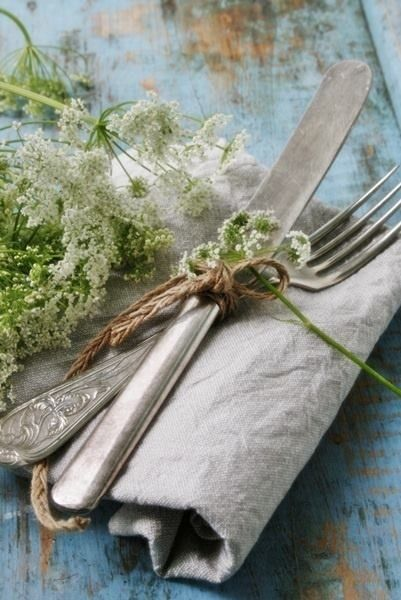 Vintage Napkin and Flatware Country French Setting + Queen Anne's Lace Flowers..blue chippy table..charming and simple.