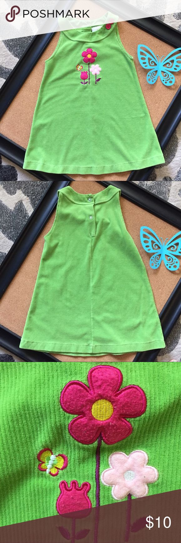 Rare Editions green corduroy dress sz 6 Rare editions soft light weight cotton/polyester corduroy lime green dress floral appliqué on front and 3 buttons on back . Sz 6 Rare Editions Dresses Casual