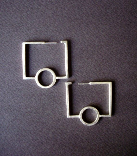 modern minimal geometric hoops unique hoops sterling silver circle and rectangulars drop earrings designer jewellery