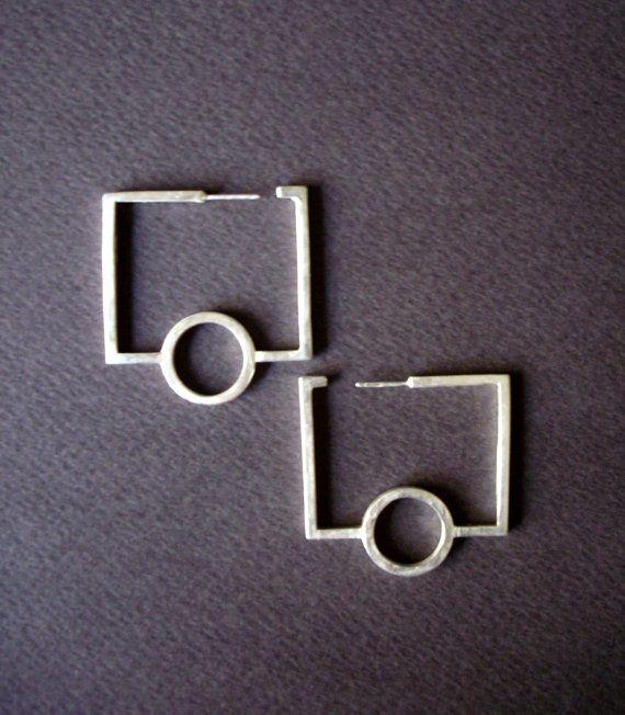 modern minimal geometric hoops unique hoops sterling silver circle and rectangulars drop earrings designer jewellery