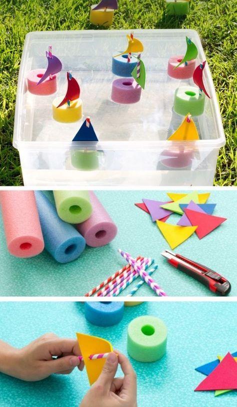 idée comment faire un bateau en papier, éponges et pailles, tutoriel pour faire des voiliers multicolores, bricolage enfant facile et amusant