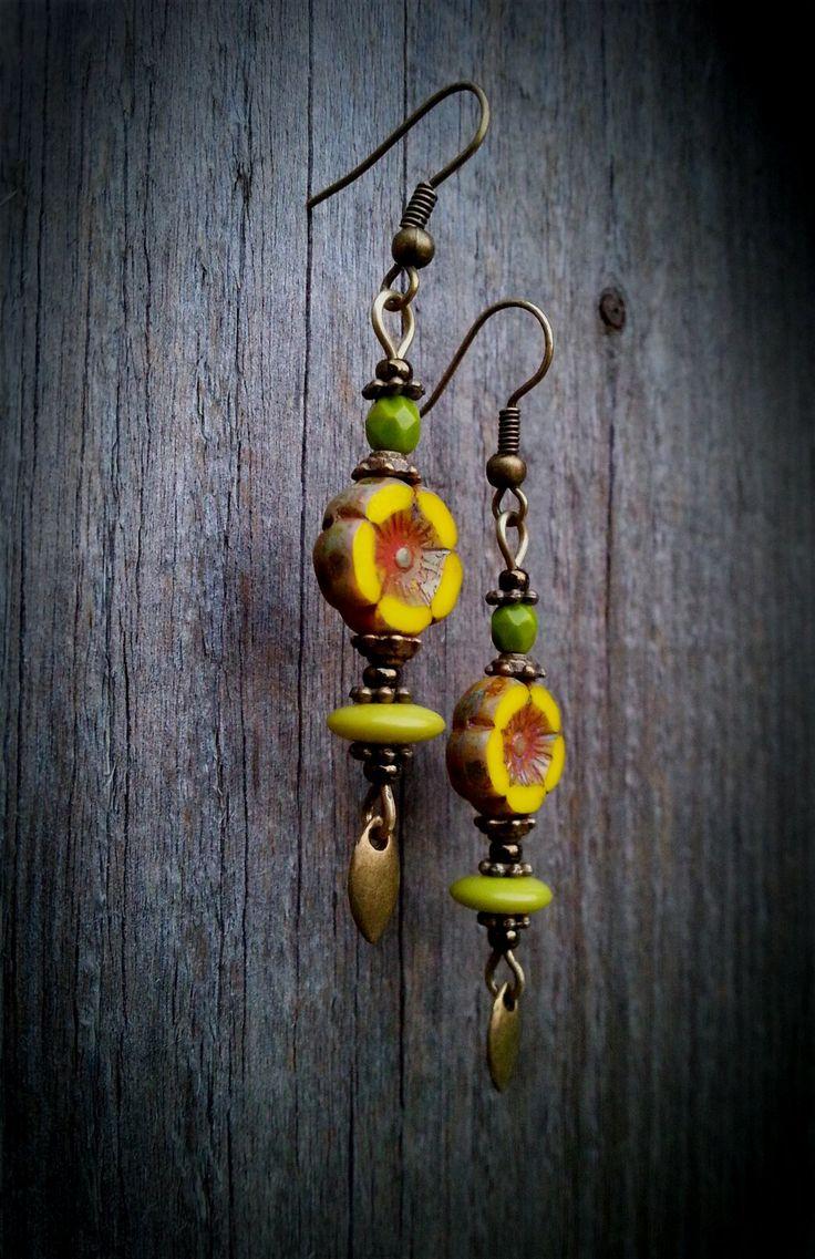 Sunflower Yellow Earrings - Table Cut Picasso Czech Glass Dangles - Summer Jewelry - Bohemian Earrings