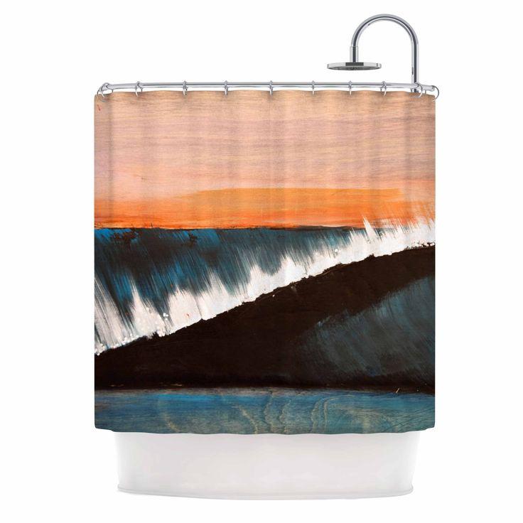 "Kess InHouse Nathan Gibbs ""Clean Slate"" Blue Orange Shower Curtain"