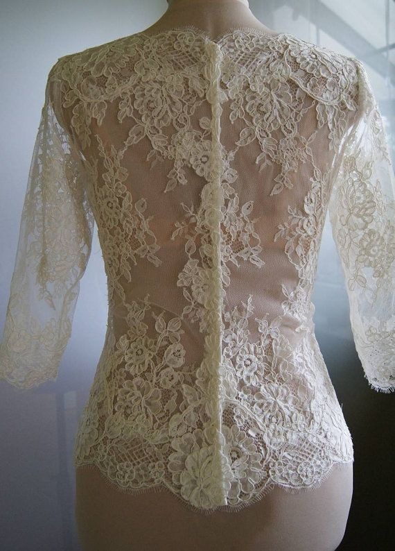 Amazing wedding bolero-top-jacket with lace sleeve 3/4 by TIFARY
