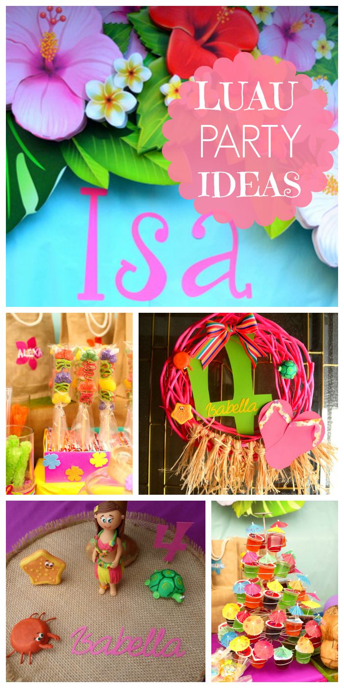 A Hawaiian luau girl birthday party with gorgeous, brightly colored  decorations and floral backdrop!