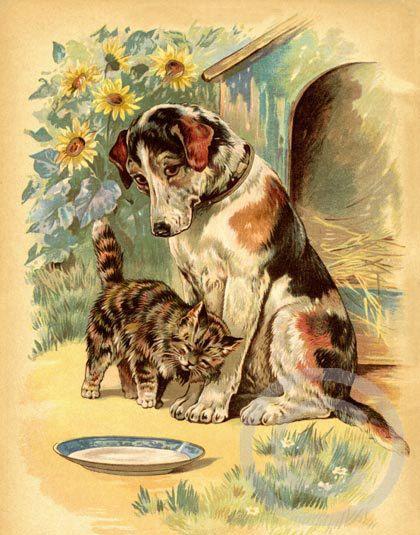 Vintage Style Dog Print, sweet Dog and Cat , Best Friends, Dog House, Victorian, Pet, Garden, Sunflowers, 1910s Giclee Fine Art Print, 11x14