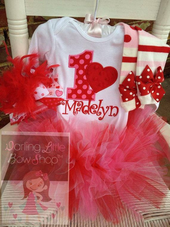 First Birthday Tutu Outfit  for a Valentine themed birthday