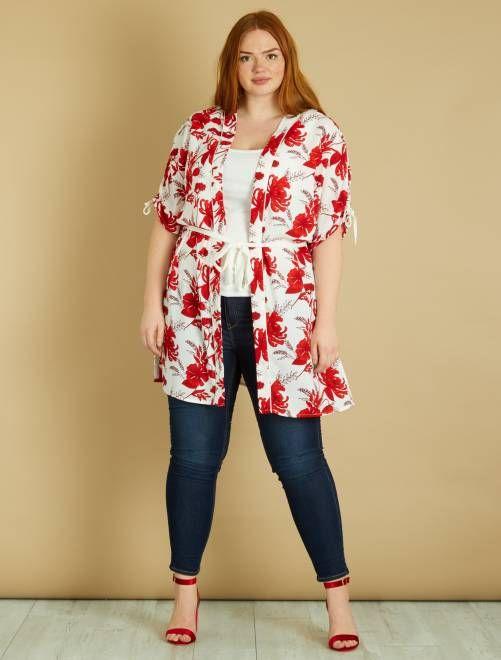aa5bbfd859ea Kimono lungo fiori con cintura BIANCO Taglie forti donna - Kiabi ...